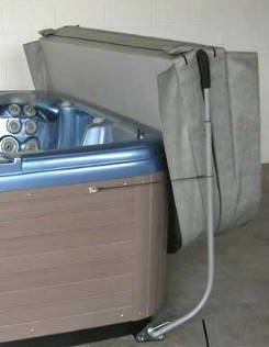 Hot tub cover lifters easily remove and store your hot tub and spa covers